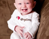 0 to 3 Months I Heart Adoption White Layette Gown, Adoption Apparel, Adoption Gifts, Adoption T- Shirt, Adoption Apparel