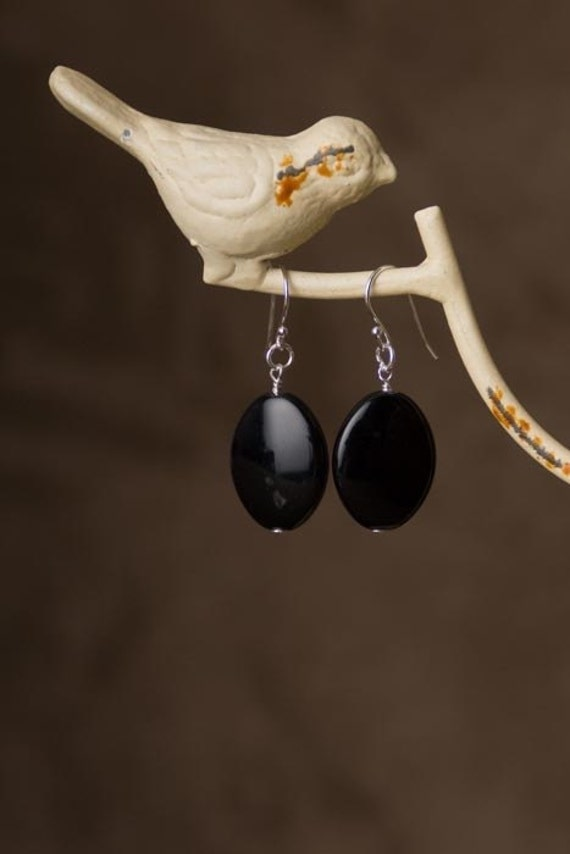 Black Glass Earrings, Black Earrings, Black Dangle Earrings, Black Earrings for Women