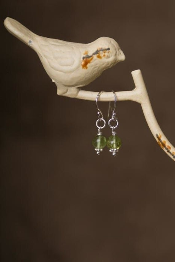 Peridot Earrings with Sterling Silver Embellishments