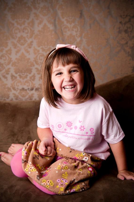Size 5/6 Adoption Is a Beautiful Thing Tee Shirt in Soft Pink, Girl's Adoption Shirt, Adoption Apparel, Adoption Gifts, Adoption T- Shirt