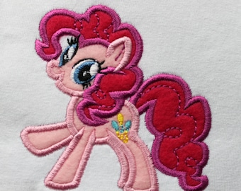 Pink Pony Applique Embroidery Design
