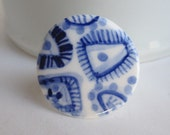 Porcelain Ring - Hand formed and hand painted  Blue Delft