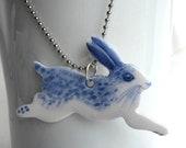 Leaping Rabbit  - Handpainted Blue Delft Porcelain Necklace