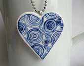 Heart - Hand painted blue and white Delftware porcelain necklace