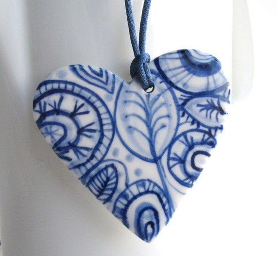 Handmade Handpainted Porcelain Heart Necklace