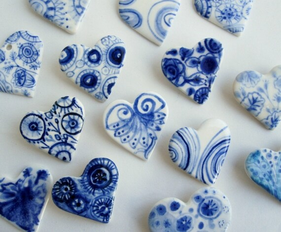 Handpainted Delft Porcelain Brooch - Heart
