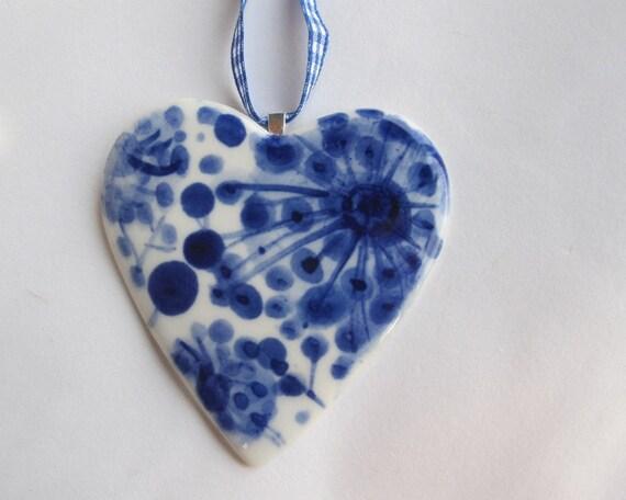Handmade Handpainted Porcelain Heart Necklace
