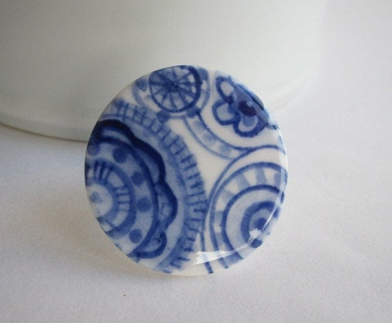 Porcelain Cocktail Ring - Hand formed and hand painted  Blue Delft