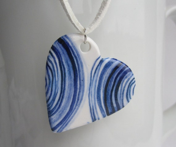 Porcelain Heart Necklace - Handmade and Handpainted Blue Delft