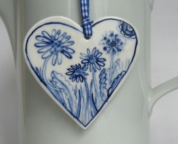 Porcelain  Heart -  Blue Delft Wall hanging/ornament