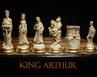 """6.5"""" king// MEDIEVAL Chess Set """"antiqued"""" FREE SHIPPING"""