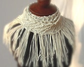 Vanilla Ivory Off White Scarf-Chic Indie Bohemian Designer Super Style Fringe-Free Shipping USA\/Canada compliments of kiamichi7.etsy.com