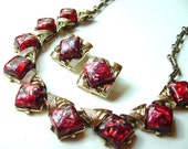 SALE Vintage Set SIgned CORO Confetti Red and Gold Tone Necklace and Clip Earrings ((Free Shipping USA))