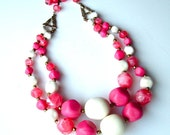 Pink Beaded Necklace Vintage Jewelry Multi Strand Raspberry Pink Vanilla Cream Beaded Necklace  ((Free Shipping USA))