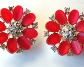 Earrings Watermelon Thermoset Rhinestone Jewelry Lisner Clip Earrings ((Free Shipping USA))