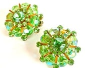 WEISS Earrings Designer Vintage Jewelry Lime Green Aurora Borealis Burlesque Beaded Clip Earrings ((Free Shipping USA))