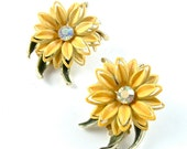 Vintage Blossom Earrings Yellow Flower and Rhinestone Flower Vintage Clip Earrings ((Free Shipping USA))
