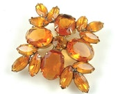 Vintage Jewelry Rhinestone Brooch Sparkle Honey Amber Golden Orange Costume Jewelry Pin