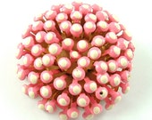 Unique Vintage Brooch Pink and White Textured Flower Pin Like Sedum or a Sea Anemone ((Free Shipping USA))