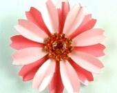 RESERVED//Vintage Flower Brooch Pink Pink Enamel Orange Rhinestones Vintage Jewelry Floral Brooch ((Free Shipping USA))