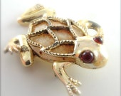 Funky Frog Brooch Vintage Jewelry Shabby Chic Toad Amphibian Pin with Jelly Belly Ruby Red Eyes Costume Jewelry Pin ((Free Shipping USA))