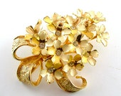 Lilac Brooch Vintage Rhinestone Jewelry Lemon Golden Yellow Enamel Flower Pin (Free Shipping USA)