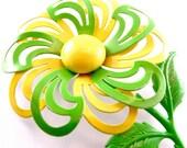 60s Floral Brooch Vintage Neon Jewelry Lemon Yellow Lime Green Pinwheel Enamel Flower Daisy Spring Fashion Pin (Free Shipping USA)