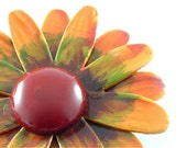 Large Vintage Flower Brooch Earthy Orange Sunset Floral Jewelry Pin (Free Shipping USA)