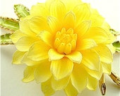 Vintage Flower Brooch Spring Fashion Jewelry Large Yellow Floral Pin (Free Shipping USA)