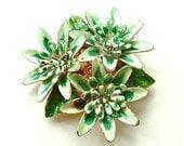 Vintage Enamel Flower Brooch Green Lotus Floral Jewelry Shabby Chic Fashion, FREE Domestic Shipping