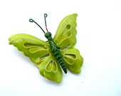 Vintage Butterfly Brooch Chartreuse Apple Green Costume Jewelry, Free US Shipping