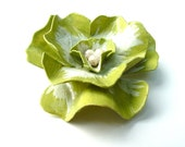 Large Chartreuse Vintage Fashion Flower Brooch Ruffle Paper Mache Green Petals Costume Jewelry, Free US Shipping