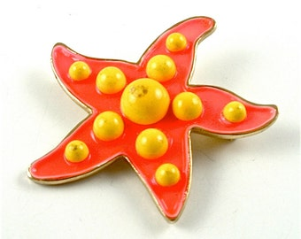 Polka Dot WEISS Starfish Brooch Designer Vintage Jewelry Tangerine Orange Yellow Sgned Pin