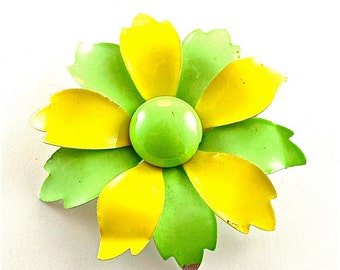 Flower Brooch Enamel Vintage Floral Jewelry Neon Lemon Lime Yellow Green Pin