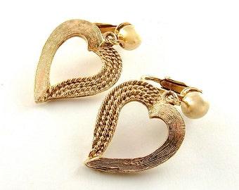 Vintage Heart Earrings Love Gold Jewelry Dangle Earrings