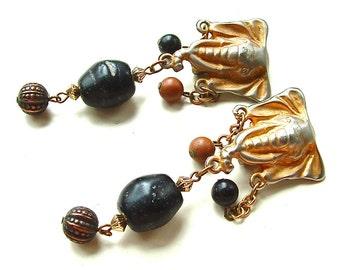 Vintage Earrings Safari Tribal Statement Jewelry Beaded Elephant Earrings