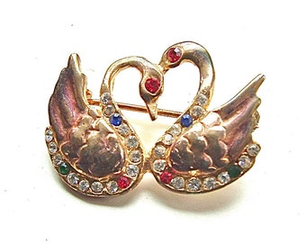 Romantic Vintage Brooch Two Antique Golden Swans