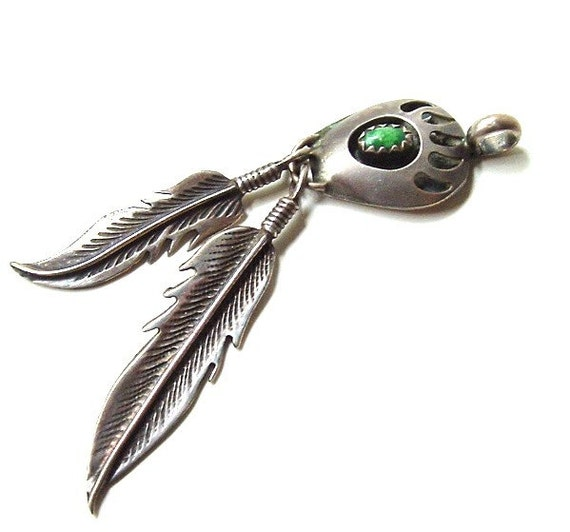 Sterling Silver Native American Pendant Genuine Stone Feather Bear Paw Symbol Free Shipping USA