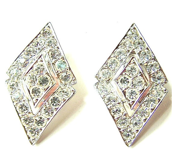 Sarah Coventry Rhinestone Clip On Earrings Hollywood Glamour Designer, Free Shipping USA