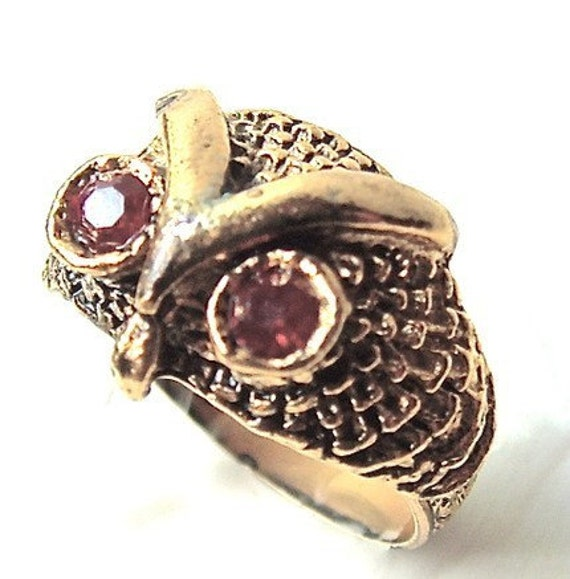 Vintage Ring Adjustable Ruby Red Eyes Owl Ring with Sparkling Rhinestones Bird of the Midnight Forest ((Free Shipping USA))