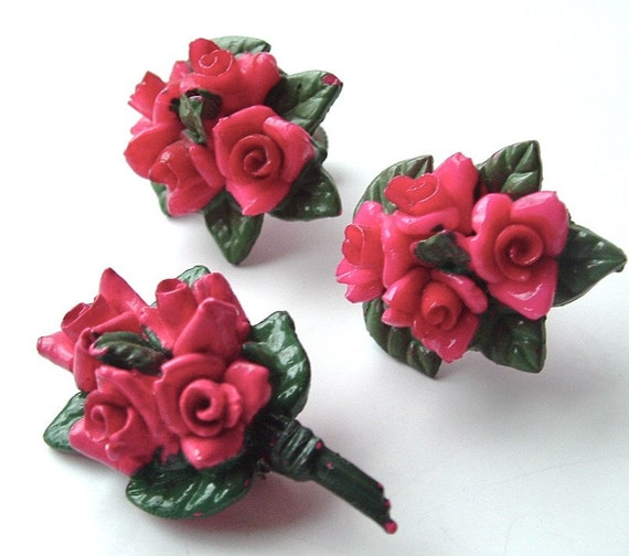Romantic Rose Bouquet Brooch Earring Nature Inspired Vintage Jewelry Set, FREE US SHIPPING