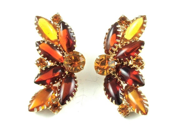 Vintage Earrings Honey Pumpkin Gold Citrine Amber Juliana Style Rhinestone Burlesque Showgirl Jewelry Clip Earrings ((Free Shipping USA))