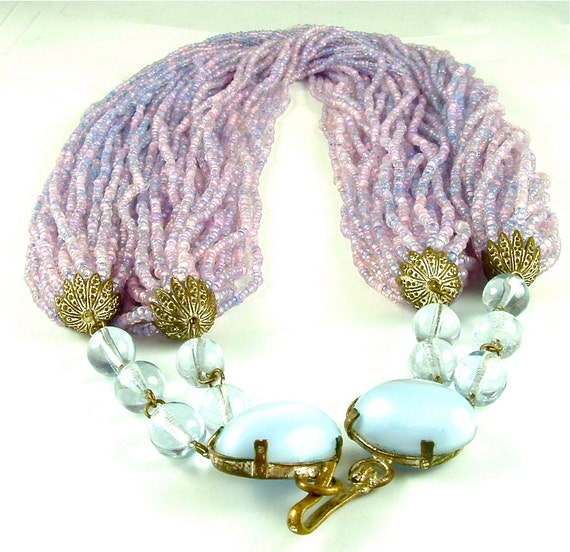 Beaded Necklace Torsade Vintage Jewelry Multi Strand Sixty Strands of Pink Lavender Glass Beads Sky Blue Glamour Clasp (Free Shipping USA)
