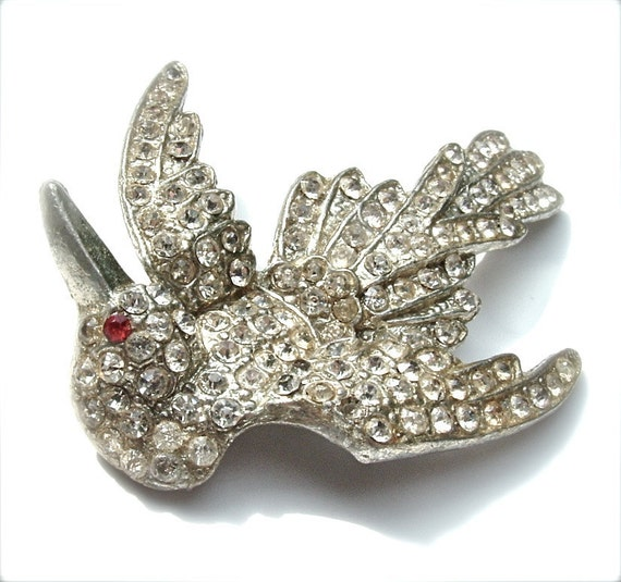 Rhinestone Brooch Vintage Jewelry Flying Bird of Paradise 1940  Complimentary USA Shipping