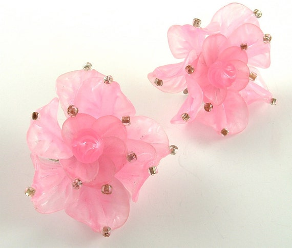 Pink Flowers Beaded Vintage Clip On Earrings Complimentary US Shipping