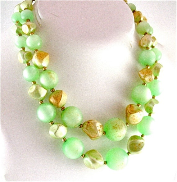 Coro Designer Vintage Jewelry Multi Strand Necklace in Mint Green and Gold Sustainable Fashion Beaded Necklace ((Free Shipping USA))