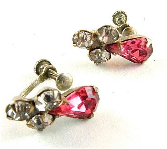 Rhinestone Earrings Pink Vintage Wedding Party Jewelry 1940 Teardrop ((Free Shipping USA))