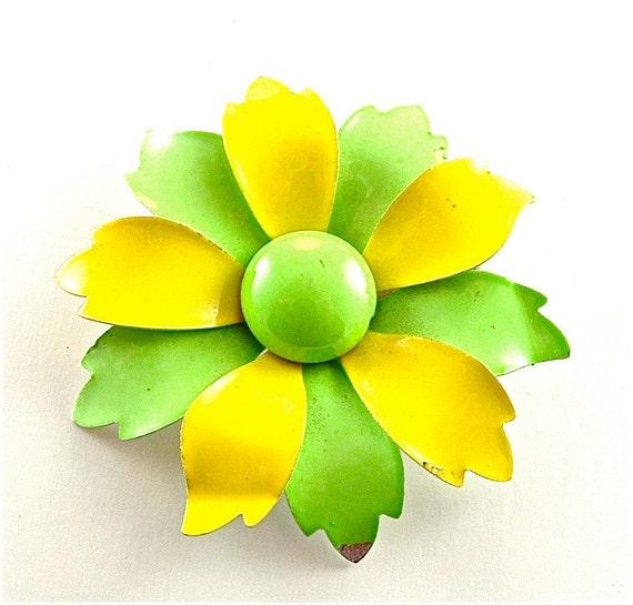 Flower Brooch Enamel Vintage Floral Jewelry Neon Lemon Lime Yellow Green Pin