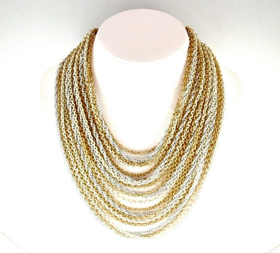 Multi Chain Necklace Vintage Costume Jewelry Gold Silver Tone Off White Multi Strand 20 Chain Necklace ((Free Shipping USA))