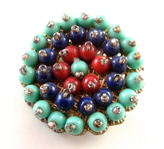 Beaded Brooch Vintage Jewelry Aqua Blue Navy Cranberry Red Glass Handmade Old World Pin ((Free Shipping USA))